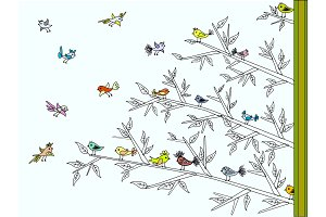 Tree with colorful cute birds