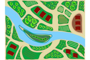 stylized map area top view river field greens