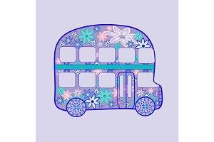 double Decker bus retro vintage flowers hippie