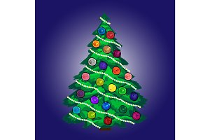 Christmas tree with balls and garland blue background