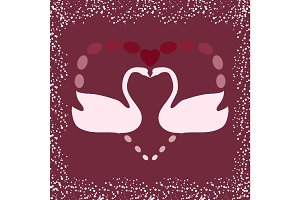 Swan symbol of love heart silhouette