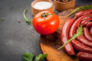 Homemade raw beef sausages