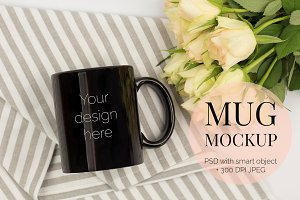 Black Mug Mockup PSD with Roses