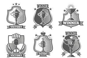 Trophy cup champions emblems set