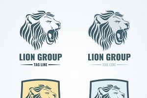 Lion emblems vector set