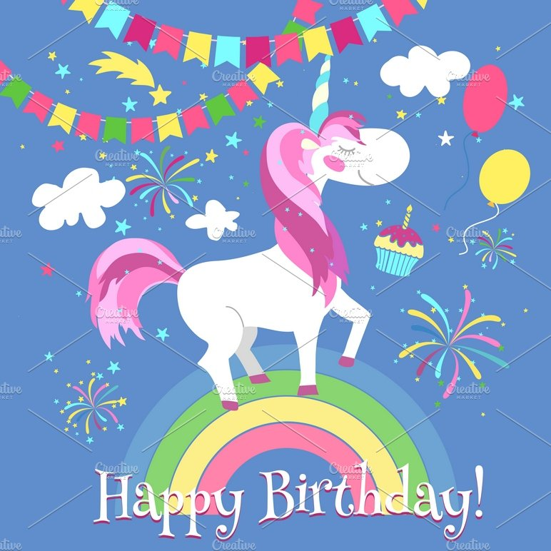 6 Birthday Card Templates: Happy Birthday Card With Unicorn
