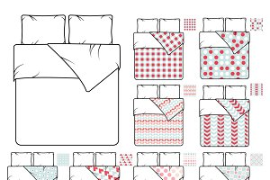 Bedding and linen vector template