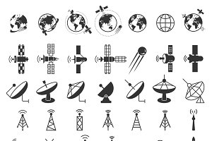 Satellite icons vector set