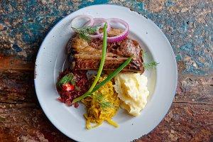 Grilled pork ribs with sauerkraut