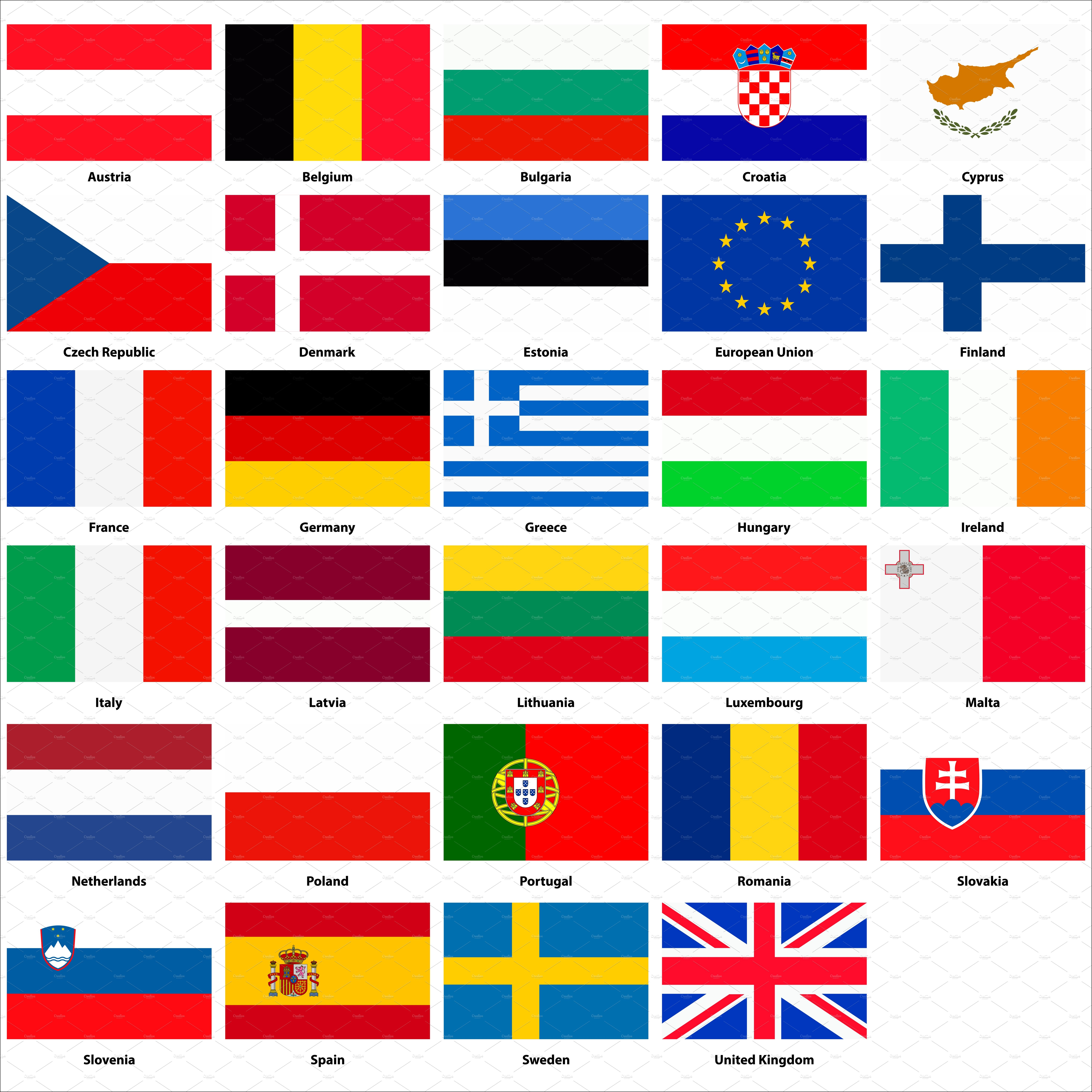 all flags of the european union custom designed icons