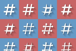 Icon Set of hashtags.