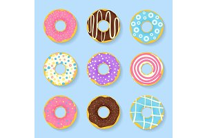 Icon set of sweet, tasty donuts in glaze