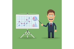 Cartoon character with pointer near presentation stand with business charts and diagrams. Business lecture, seminar, report, presentation, coaching, meeting