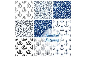 Nautical seamless pattern of navy anchor, helm