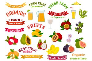 Fruit juice signs. Juicy fresh fruits icons set