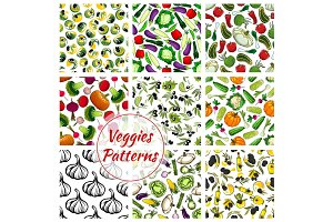 Vegetables seamless patterns set of veggies icons