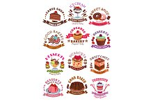 Sweet desserts, cakes, cupcakes vector icons