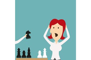 Business defeat. Woman shocked defeated in chess