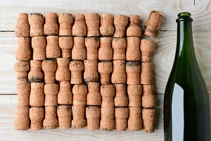 Champagne and Corks Closeup