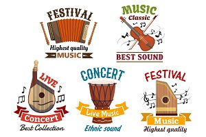 Musical instrumetns icons for festival, concert