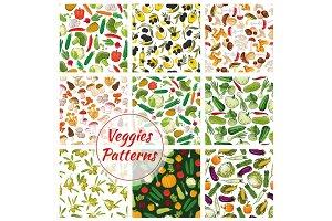 Veggies seamless patterns set of vegetables