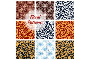 Floral decoration seamless patterns set