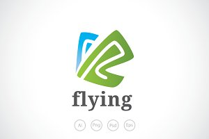 Flying Butterfly Logo Template