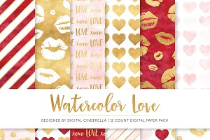 Watercolor Love Digital Paper