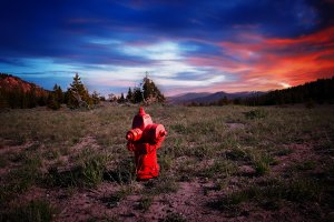 Red Fire Hydrant with Colorful Sunset