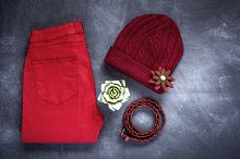 Set of accessories fashion clothes