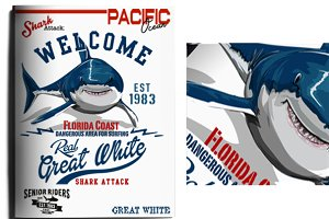 shark and surf illustrations