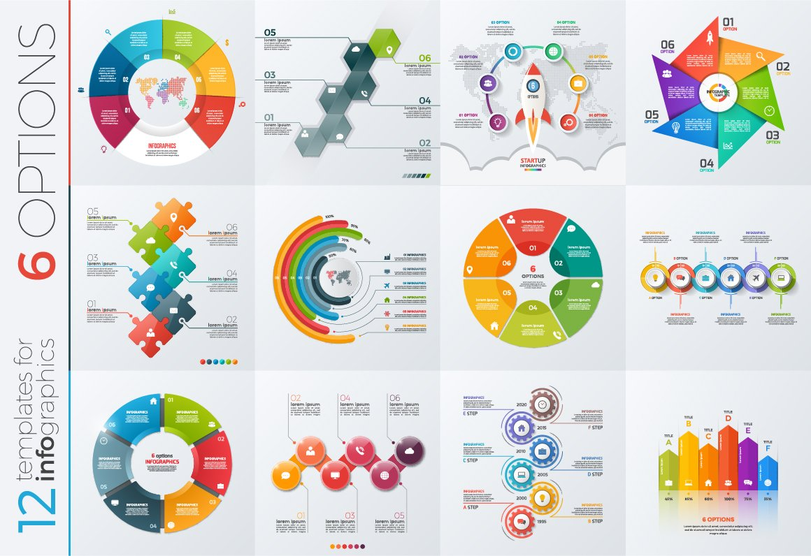 12 infographic templates 6 options presentation templates