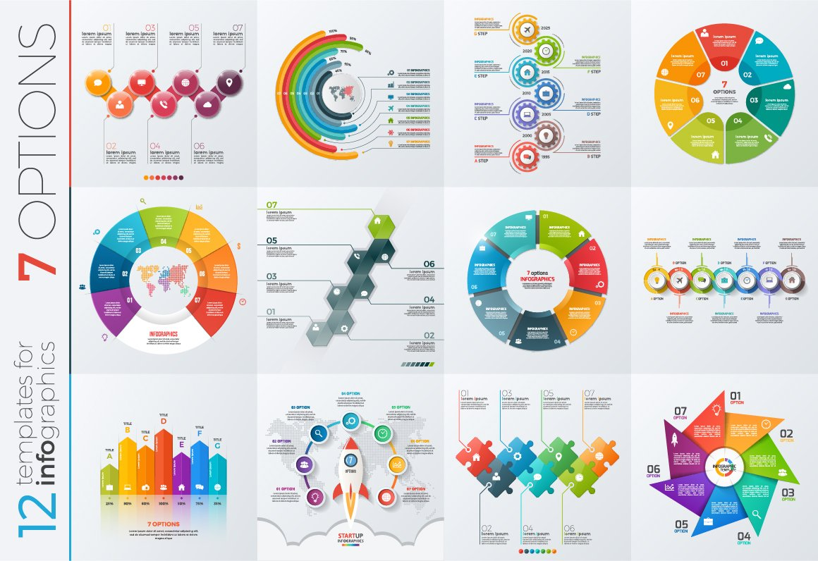 12 infographic templates 7 options presentation templates