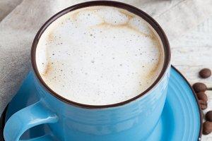 cappuccino,blue cup,napkin