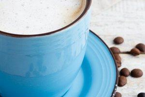 cappuccino,grey napkin closeup