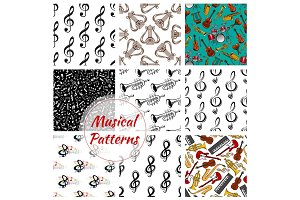 Music, musical instruments seamless patterns set