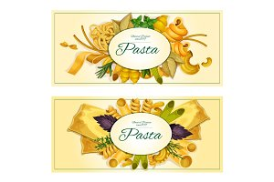 Pasta vector banners of macaroni, spaghetti