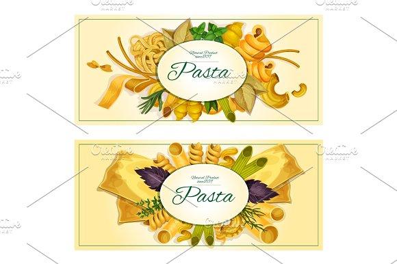 Pasta Vector Banners Of Macaroni Spaghetti