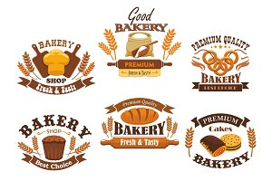 Bakery shop vector isolated icons set