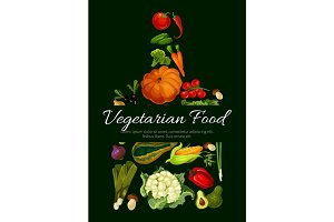 Vegetarian food poster. Fresh farm vegetables