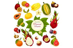 Tropical fresh fruits vector poster