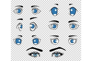 Set of different human and anime eyes, cartoon girl face elements. Vector illustration