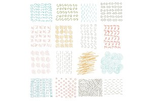 Vector set of grungy hand drawn textures on white background. Lines, circles, crosses, smears, strokes. Elements and patterns