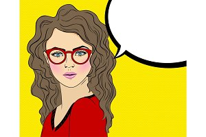 Pop Art Woman with red Glasses and speech bubble sign. Vector comic book illustration girl