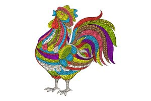 Rooster, Cock vector illustration. Hand drawn farm bird in doodle style for adult antistress coloring pages, books, art therapy. Sketch t-shirt print.