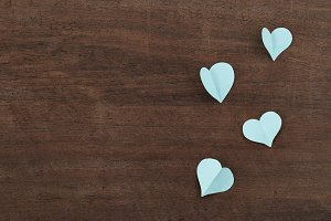 blue paper hearts