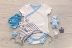 infant bodysuit with matching hat and socks