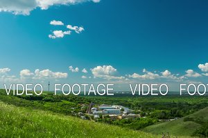 clouds sky city beautiful sunny day nature hills mountains travel the country building timelapse