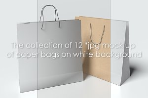 Mock up of paper bags on white b/g
