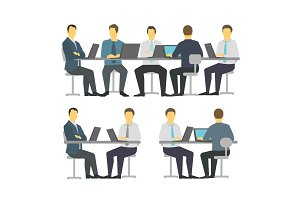Business people set discussing meeting office sit desk. Businesspeople working. Brainstorming talking.